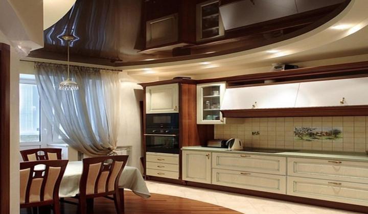 Натяжные потолки дизайн на кухне фото